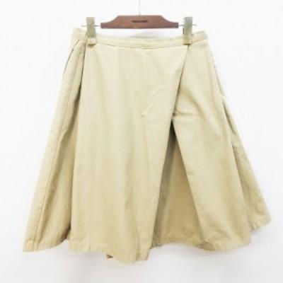 【中古】クチュールブローチ COUTURE BROOCH スカート 膝丈 タック フレア 無地 サイドファスナー 38(M相当) ベージュ