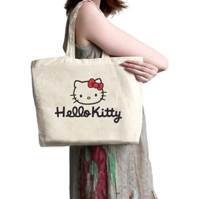 リネンキャンバスバッグファッションショッピングバッグクラシック漫画キャラクターハローキティトートバッグ大容量多機能ワンショルダー/ハンディショッピング