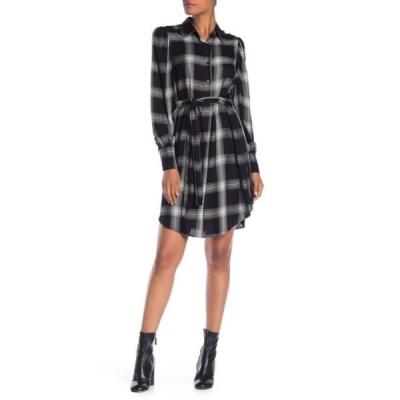 マックスタジオ レディース ワンピース トップス Plaid Button Shirt Dress BLK/WHT