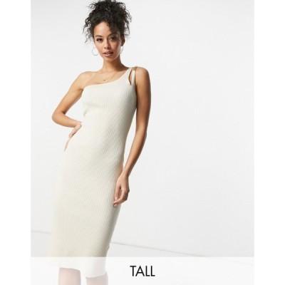 フォース&レックレス 4th & Reckless Tall レディース ワンピース knitted one shoulder chain strap detail midi dress in cream クリーム