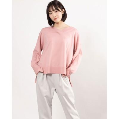 ルゥデ Rewde 袖ボリュームVネックニット(1R14-02176) (ピンク)