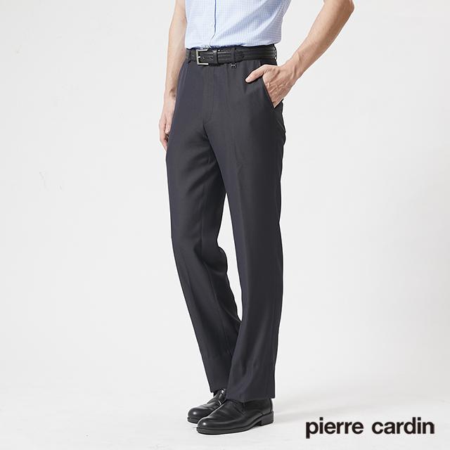 【pierre cardin 皮爾卡登】 男裝冰涼緹花平口西裝褲-黑灰色 (5187872-97)