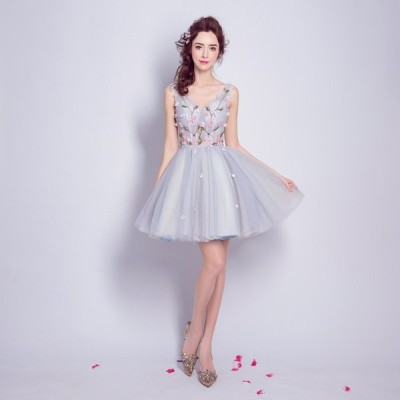カラードレス 結婚式 ミニ 演奏会 お呼ばれ 二次会 袖あり 格安 花嫁 ウエディングドレス 披露宴 ミディアム パーティードレス 大きいサイズ
