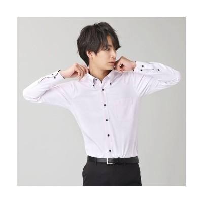 (BRICKHOUSE/ブリックハウス)ワイシャツ 長袖 形態安定 ボタンダウン スリム メンズ/メンズ パープル