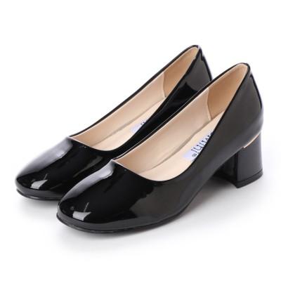 ジェミニ GeMini チャンキーヒール パンプス 痛くない 脱げない 結婚式 太ヒール ゴールド  フォーマル 靴  6103 (EnamelBlack)