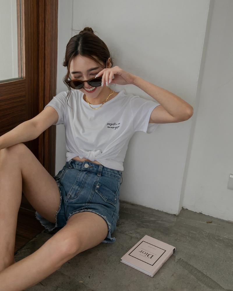 草寫刺繡棉質上衣-Mercci22