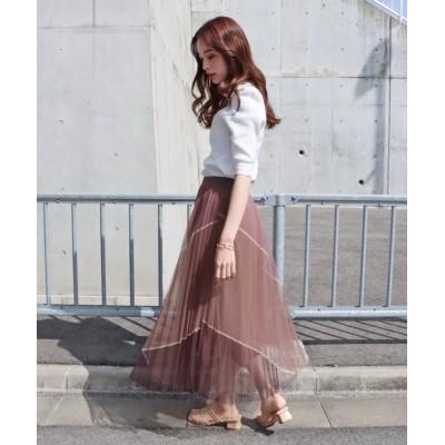【ブルーイースト】 配色チュールプリーツスカート レディース パープル M(01) BLUEEAST