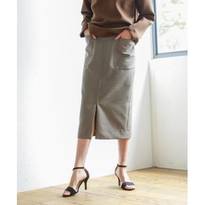 【エス エッセンシャルズ】 高密度ウールポリエステルチェック ジップタイトスカート レディース グリーン 36(S) S.ESSENTIALS