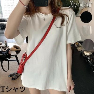 Tシャツトップス半袖レディースインナーリブTシャツ体型カバーゆったり