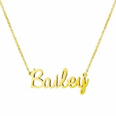 Women Jewelry Name Necklace Big Initial Gold Plated Best Friend Girls Women Gift for Her Bailey