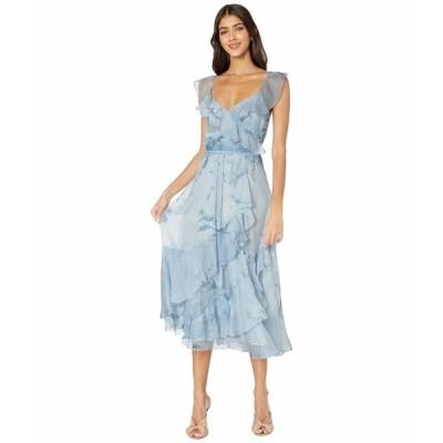 マルケサノット ワンピース トップス レディース Strapless V-Neck Printed Chiffon Tea-Length Gown Light Blue