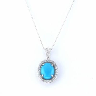 K18WG ホワイトゴールド トルコ石 ダイヤモンド ネックレス/ペンダント (J213983)