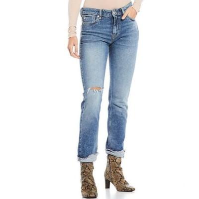 フリーピープル レディース デニムパンツ ボトムス Cuffed Destruction Detail Slim Boyfriend Jeans