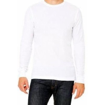 ファッション トップス Bella + Canvas 3500 Mens Contrast Stitching Long Sleeve White Thermal T-Shirt