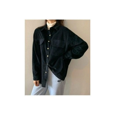 ジュエローブ Jewelobe オーバーサイズコーデュロイシャツ (ブラック)