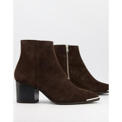 エイソス メンズ ブーツ・レインブーツ シューズ ASOS DESIGN heeled Chelsea boots with pointed toe in brown suede with black sole and metal toe cap