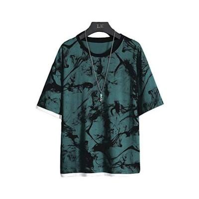 夏服 メンズ tシャツ メンズ 半袖 おしゃれ 夏 メンズ tシャツ 無地 おもしろtシャツ tシャツ メンズ 夏 green M