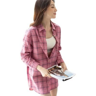 チェックシャツ レディース オーバーシルエット ロングシャツ ブラウス チェック 綿100% コットン 大きいサイズ ゆったり シャツワンピ ロングカ