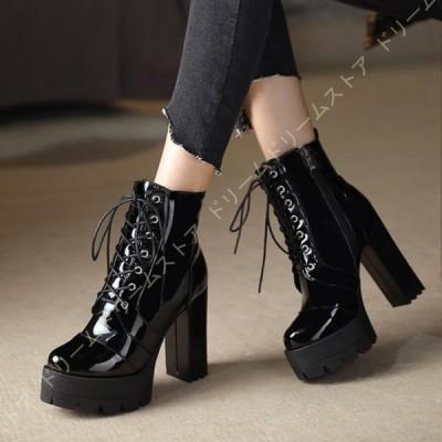 ブーツ ショートブーツ 厚底 11.5センチヒール ハイヒール レディース 編み上げ 軽量 厚底ブーツ 黒 ショート ブーツ 厚底靴 編み上げブーツ レースアップ