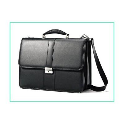 Samsonite Leather Flapover Briefcase, Black, One Size並行輸入品
