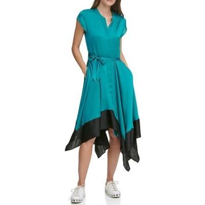 ダナ キャラン ニューヨーク レディース ワンピース トップス Colorblock Asymmetrical Hem A-Line Dress