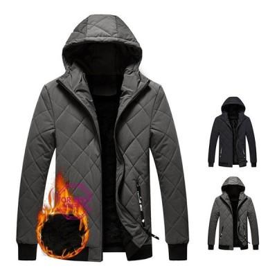 中綿ジャケット メンズ 裏起毛 防寒ジャケット 菱形 中綿コート ジャケット 大きいサイズ あたたか 冬服