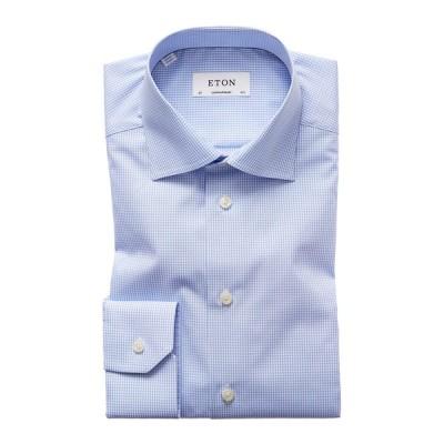 エトン メンズ シャツ トップス Men's Contemporary-Fit Mini Gingham Dress Shirt