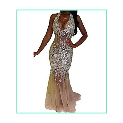 Nina Ding 2019 Mermaid Prom Dresses for Women Beaded Luxury Formal Evening Gowns Long Champagne NND001並行輸入品
