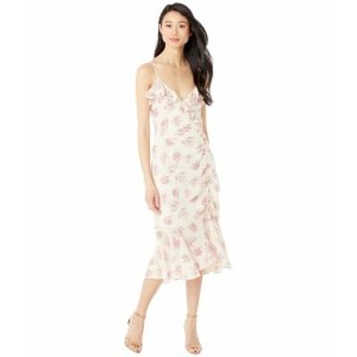 アメリカンローズ レディース ワンピース トップス Shea Printed Ruched Asymmetrical Dress Cream/Pink