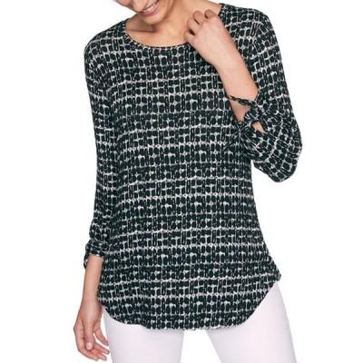 ルビーアールディー レディース Tシャツ トップス Geo-Blocked Print Hatchi Knit Scoop Neck 3/4 Tie Sleeve Top