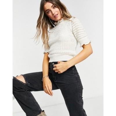 ミスセルフフリッジ レディース ニット・セーター アウター Miss Selfridge short sleeve sweater in cream