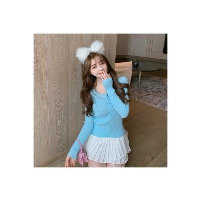 【送料無料】襟 ひもあり 長袖セーター トップス 女 秋冬 韓国風 何でも似合う 着 | 346770_A64307-2951427