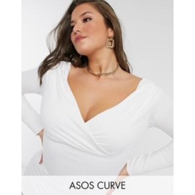 エイソス レディース シャツ トップス ASOS DESIGN Curve exclusive wrap over bardot top in white White