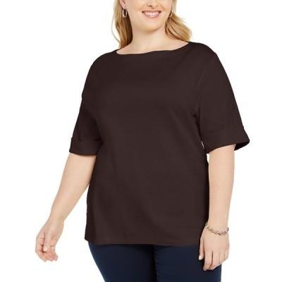 ケレンスコット カットソー トップス レディース Plus Size Cotton T-Shirt Chocolate