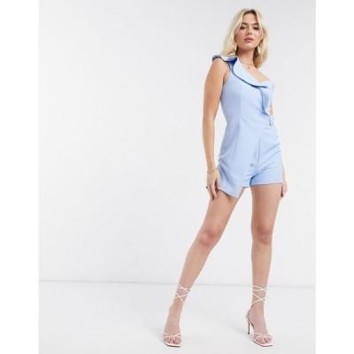 ラヴィッシュアリス Lavish Alice レディース オールインワン プレイスーツ ワンピース・ドレス frill shoulder playsuit in blue ブルー