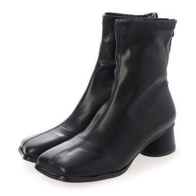 シュベック SVEC スクエアトゥショートブーツ (ブラック)