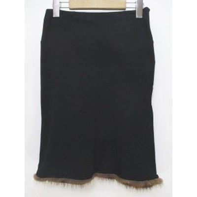 【中古】ブルマリン Blumarine 膝丈 フレアスカート 38 黒系 ブラック 裾ファー イタリア製 レディース