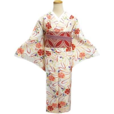 着物 袷 洗える 半巾帯 細帯 リバーシブル セット LL トールサイズ オフホワイト白色地八重桜花紐