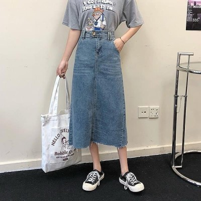 Wansmall レディース スカート sk0772 Dieli cutting denim skirt