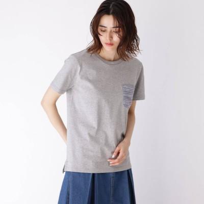 ベース コントロール BASE CONTROL 【WEB限定】ポケット ボーダー 半袖Tシャツ (グレー×グレー)