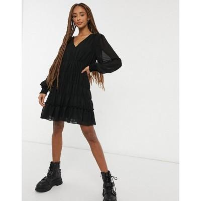オブジェクト Object レディース ワンピース ミニ丈 ワンピース・ドレス smock detail mini dress in black ブラック