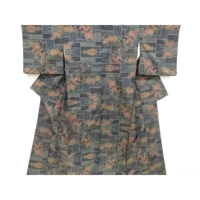 リサイクル 枡に菊模様織り出し本場泥大島紬着物(5マルキ)