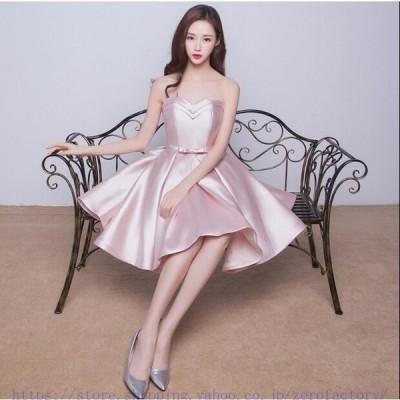 ウェディングドレス ミニ カラードレス ウエディングドレス 花嫁 二次会 ドレス 結婚式 コンサート 演奏会  ワンピース パーティー ピンク