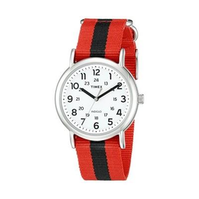 タイメックス   Timex メンズ Tw2P68000ウィークエンダーレッド/ブラックストライプナイロンスリップスルーストラ
