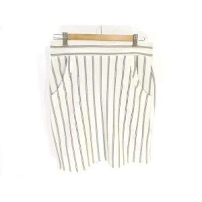 【中古】ミッシェルクラン a.v.v 美品 タイト スカート 膝丈 ミドル ストライプ 白 ホワイト L レディース