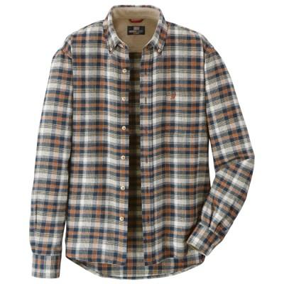 ベルーナ <ミチコ ロンドン ジーンズ>暖か起毛チェックシャツ オレンジ系 M メンズ