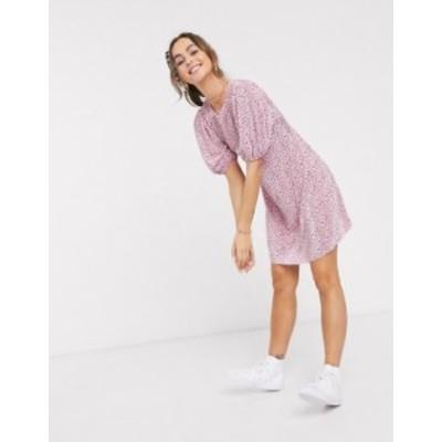 エイソス レディース ワンピース トップス ASOS DESIGN plisse mini dress in pink print Pink ditsy print