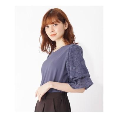 グローブ grove 【S-LL/テレワーク/顔映え】ツッキリジャカード袖異素材プルオーバー (ブルー)