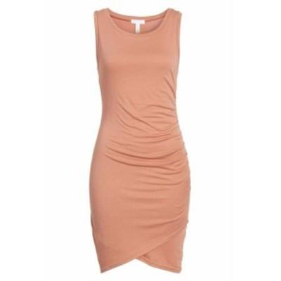 Leith ライス ファッション ドレス Leith Womens Coral Orange Size XXL Ruched Crewneck Sheath Dresss