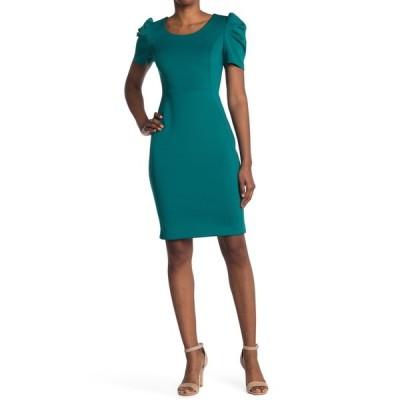 カルバンクライン レディース ワンピース トップス Puffed Sleeve Sheath Dress EVERGLADE